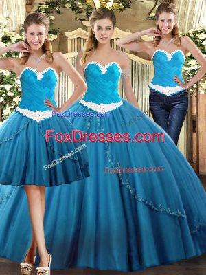 Teal Sweet 16 Quinceanera Dress Military Ball and Sweet 16 and Quinceanera with Beading Sweetheart Sleeveless Lace Up