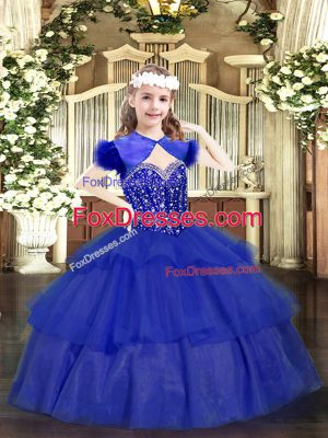 Most Popular Sleeveless Floor Length Beading and Ruffled Layers Lace Up Little Girls Pageant Gowns with Royal Blue