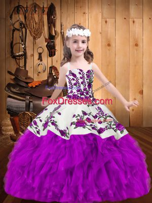Adorable Sleeveless Beading and Embroidery Lace Up Little Girls Pageant Dress Wholesale