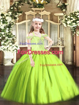 Best Yellow Green Sleeveless Tulle Lace Up Child Pageant Dress for Party and Quinceanera