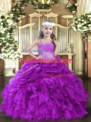 Popular Purple Sleeveless Organza Lace Up Kids Formal Wear for Party and Sweet 16 and Quinceanera and Wedding Party