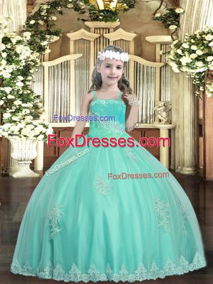 Ball Gowns Little Girls Pageant Dress Apple Green Straps Tulle Sleeveless Floor Length Lace Up