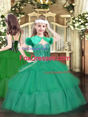 Latest Turquoise Ball Gowns Organza Straps Sleeveless Beading and Ruffled Layers Floor Length Lace Up Pageant Gowns For Girls