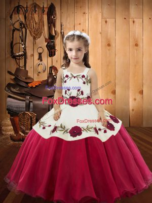 Excellent Red Organza Lace Up Pageant Dress Sleeveless Floor Length Embroidery