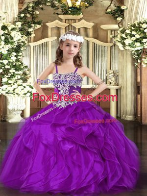 Organza Sleeveless Floor Length Little Girl Pageant Dress and Appliques and Ruffles