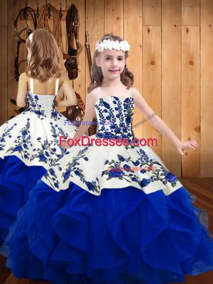Fantastic Ball Gowns Little Girls Pageant Dress Royal Blue Straps Organza Sleeveless Floor Length Lace Up