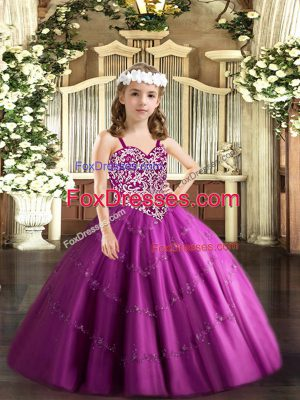 Beauteous Floor Length Fuchsia Little Girls Pageant Dress Straps Sleeveless Lace Up