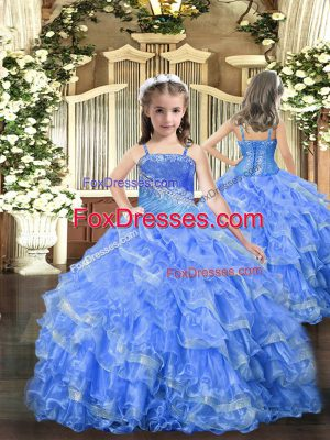 Latest Sleeveless Floor Length Beading and Ruffled Layers Lace Up Little Girl Pageant Gowns with Baby Blue