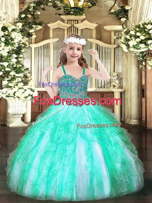Apple Green Sleeveless Organza Lace Up Little Girls Pageant Dress Wholesale for Party and Quinceanera