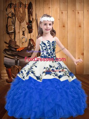 Cheap Sleeveless Embroidery and Ruffles Lace Up Pageant Dress for Teens