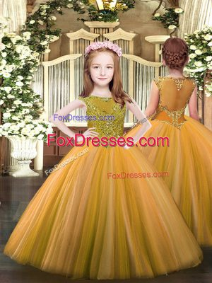 Floor Length Zipper Pageant Dresses Orange for Party and Quinceanera with Beading