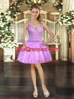 V-neck Sleeveless Lace Up Prom Evening Gown Lilac Tulle