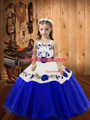Blue Organza Lace Up Straps Sleeveless Floor Length Little Girls Pageant Dress Wholesale Embroidery