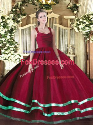 Floor Length Ball Gowns Sleeveless Wine Red Ball Gown Prom Dress Zipper