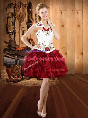 Custom Design Mini Length Lace Up Prom Dresses Burgundy for Prom and Party with Embroidery and Ruffles