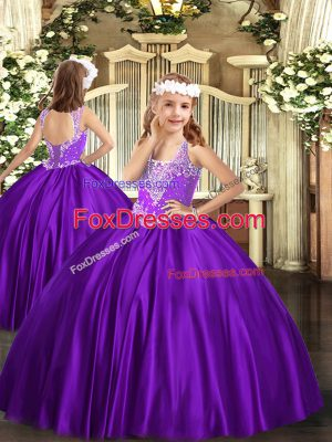 Satin Sleeveless Floor Length Kids Formal Wear and Beading