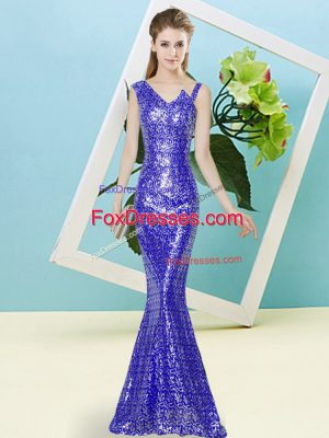 Royal Blue Mermaid Sequins Prom Gown Zipper Sequined Sleeveless Floor Length