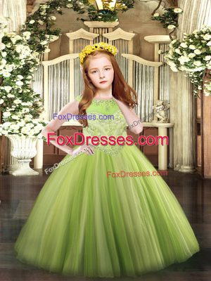 Adorable Sleeveless Floor Length Beading Zipper Pageant Gowns For Girls with Yellow Green