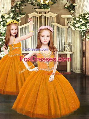 Cheap Floor Length Lace Up Little Girls Pageant Gowns Rust Red for Party and Quinceanera with Beading