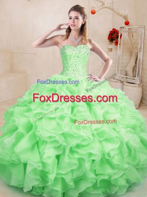 Unique Apple Green Sleeveless Organza Lace Up Vestidos de Quinceanera for Sweet 16 and Quinceanera