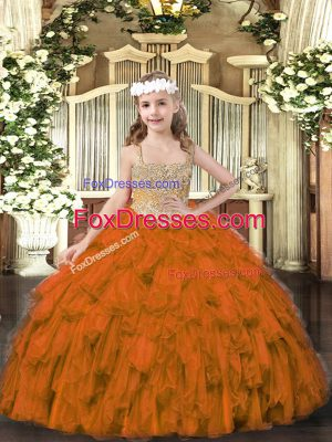 Brown Straps Lace Up Beading and Ruffles Kids Formal Wear Sleeveless