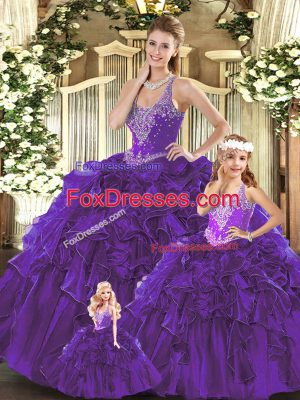Exceptional Sleeveless Lace Up Floor Length Beading and Ruffles Quinceanera Dress