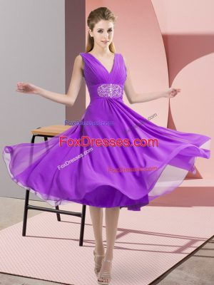 Custom Fit Purple Chiffon Side Zipper V-neck Sleeveless Knee Length Bridesmaid Dress Beading