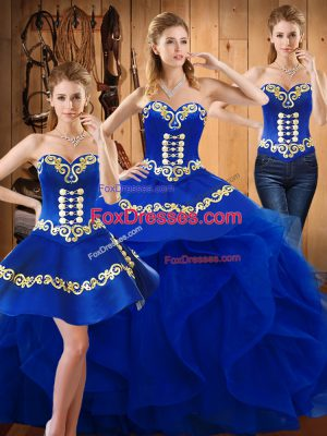 Floor Length Lace Up 15th Birthday Dress Blue for Military Ball and Sweet 16 and Quinceanera with Embroidery and Ruffles