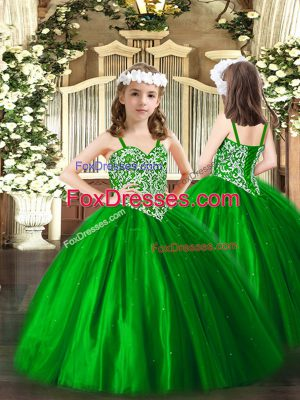 Green Sleeveless Floor Length Beading Lace Up Kids Formal Wear