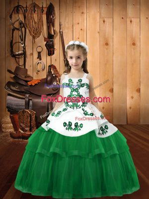 Discount Green Sleeveless Tulle Lace Up Pageant Dress for Womens for Sweet 16 and Quinceanera