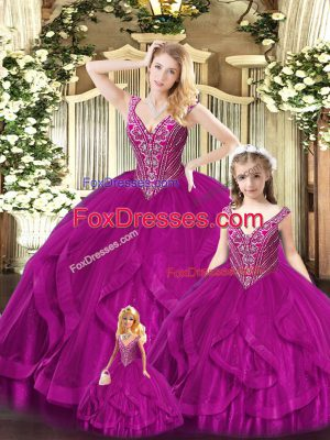 Fuchsia Sleeveless Beading and Ruffles Floor Length Ball Gown Prom Dress
