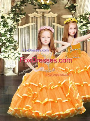 Custom Designed Floor Length Orange Pageant Dress for Womens Organza Sleeveless Beading and Ruffled Layers