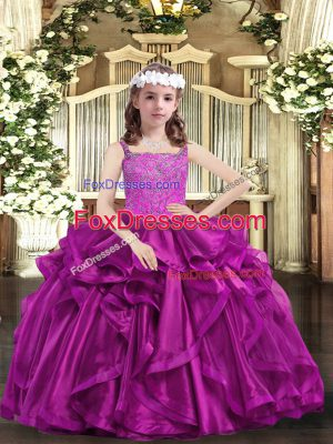 Cheap Fuchsia Organza Lace Up Pageant Dress for Girls Sleeveless Floor Length Beading and Ruffles