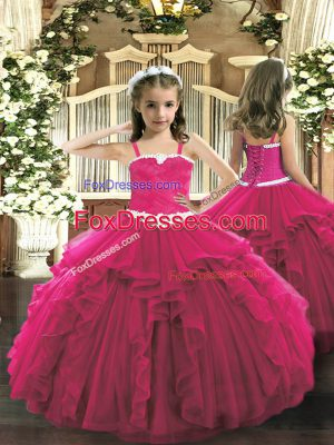 Attractive Ball Gowns Little Girls Pageant Dress Wholesale Hot Pink Straps Tulle Sleeveless Floor Length Lace Up