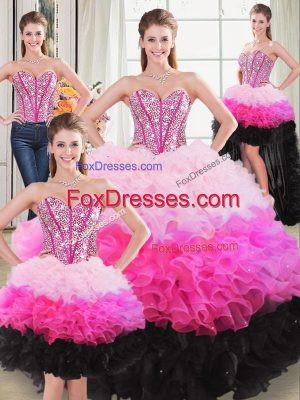 Sweetheart Sleeveless Sweet 16 Quinceanera Dress Floor Length Beading and Ruffles Multi-color Organza