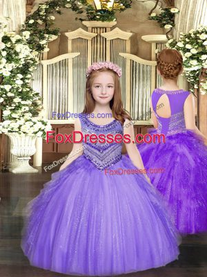 New Style Tulle Sleeveless Floor Length Little Girl Pageant Dress and Beading and Ruffles