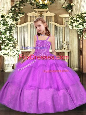 Attractive Lilac Lace Up Straps Beading and Ruffled Layers Child Pageant Dress Organza Sleeveless