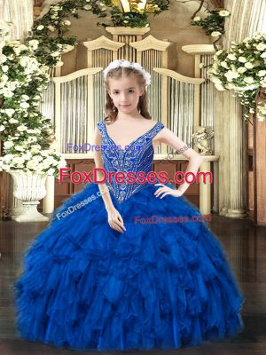 Classical Floor Length Ball Gowns Sleeveless Royal Blue Girls Pageant Dresses Lace Up