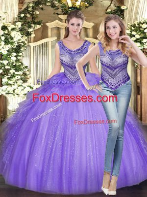 Sleeveless Tulle Floor Length Lace Up Quinceanera Gowns in Lavender with Beading and Ruffles