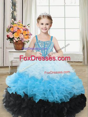 Cheap Organza Sleeveless Floor Length Little Girl Pageant Dress and Beading and Ruffles