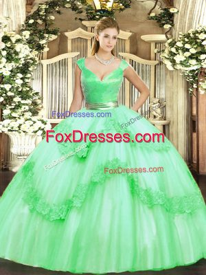 Tulle V-neck Sleeveless Zipper Beading and Appliques Quinceanera Gown in Apple Green