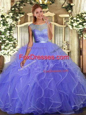 Most Popular Ball Gowns Quince Ball Gowns Lavender Scoop Tulle Sleeveless Floor Length Backless