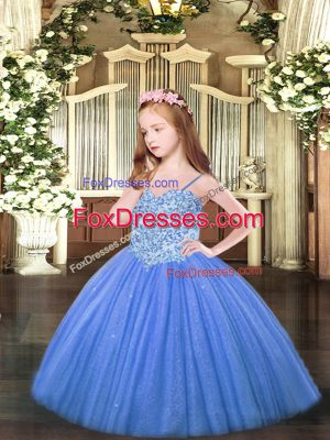 Ball Gowns Little Girls Pageant Gowns Baby Blue Spaghetti Straps Tulle Sleeveless Floor Length Lace Up