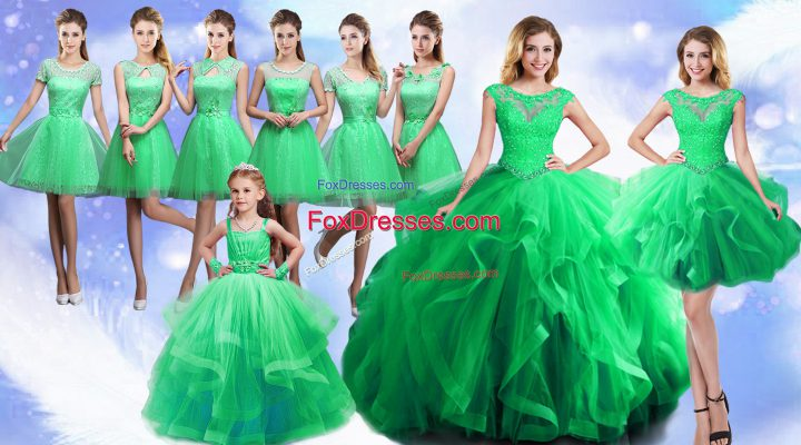 Nice Scoop Sleeveless Lace Up Sweet 16 Dress Green Organza