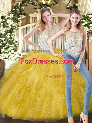 Attractive Sleeveless Floor Length Beading and Ruffles Zipper Quinceanera Dress with Yellow