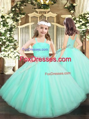 Apple Green Sleeveless Tulle Zipper Little Girls Pageant Dress Wholesale for Party and Quinceanera