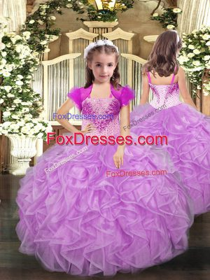 Excellent Lilac Ball Gowns Beading and Ruffles Little Girls Pageant Gowns Lace Up Organza Sleeveless Floor Length