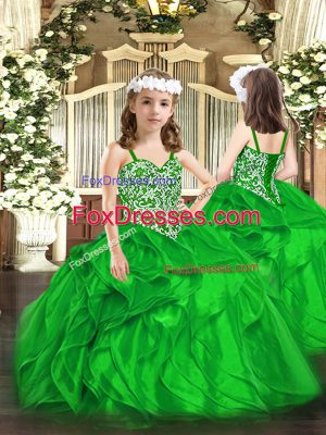Unique Green Straps Lace Up Beading and Ruffles Pageant Dress for Girls Sleeveless