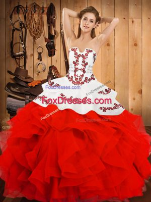 Popular Satin and Organza Strapless Sleeveless Lace Up Embroidery and Ruffles 15 Quinceanera Dress in White And Red