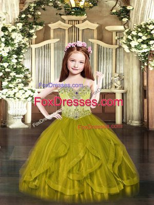 Olive Green Tulle Lace Up Spaghetti Straps Sleeveless Floor Length Little Girls Pageant Dress Wholesale Beading and Ruffles